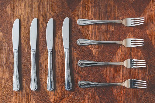 Cutlery, Cutlers, Knive, Fork, Silver, Table, Set, Eat