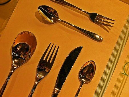 Cutlery, Spoon, Fork, Knife, Teaspoon, Metal, Eat