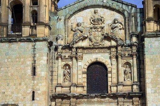 Mexico, Oaxaca, Cathedral, Pediment, Baroque