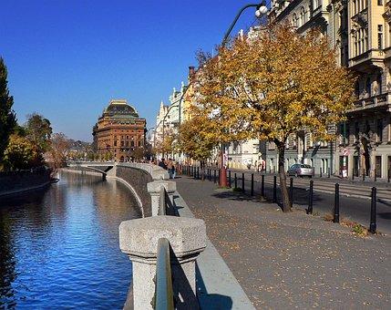 Path, Pavement, Autumn, Trees, River, Vltava, Prague