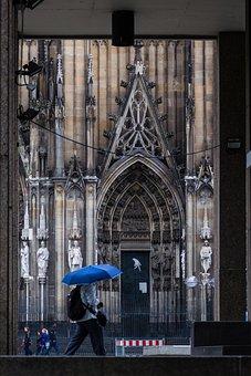 Umbrella, Rain, Church, Cologne, Architecture, History