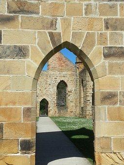 Arch, Shadow, Convict, Church, Ruin, Port Arthur