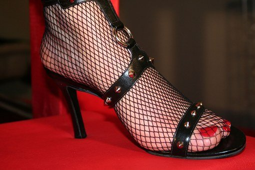 High Heeled Shoe, Shoe, Strap Shoe, Fishnet, Foot