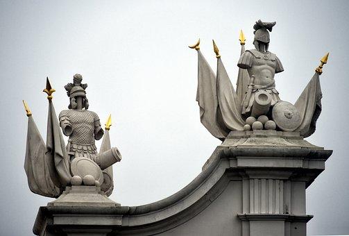 Pediment, Statues, Soldiers, Romans, Sculptures