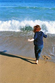 Run, Joy, Beach, Sand, Ocean, Sea, Waves, Happy, Summer