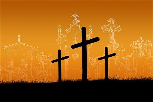Easter, Cross, Sunset, Sunrise, Cemetery, Grave Stones