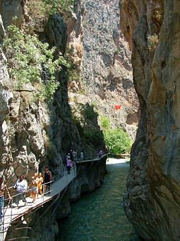 People, Holidaymakers, Tourism, River, Cliffs, Pathway