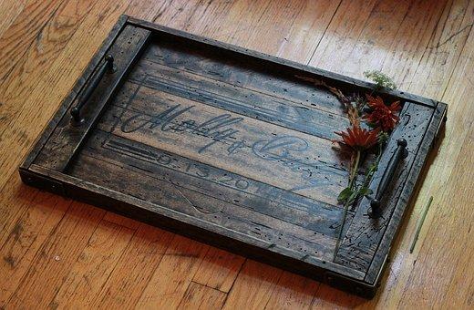 Tray, Wood, Metal, Rustic, Reclaimed, Flower, Art, Diy