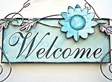 Painted Door Sign, Welcome, Metalic Art, Decor