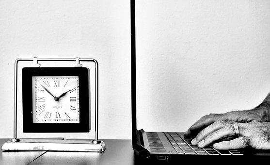 Office, Desk, Clock, Workplace, Laptop, Monochrome