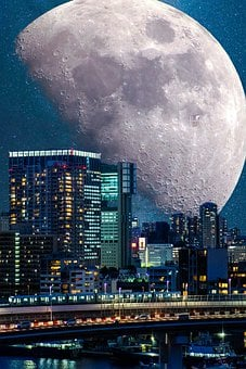 Tokyo, City, Moon, Night, Cyberpunk, Odaiba, Japan