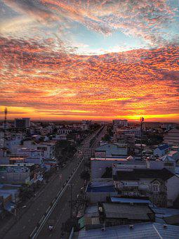 City, Sunset, Travel, Road, Outdoors, Cantho, Landscape