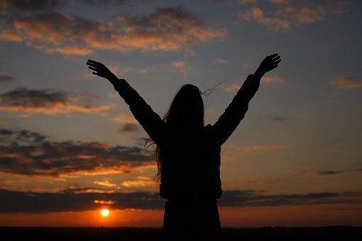 Sunset, Woman, Freedom, Adventure, Travel, Outdoors
