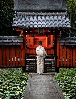 Kimono, Costume, Shrine, Prayer, Worship, Architecture