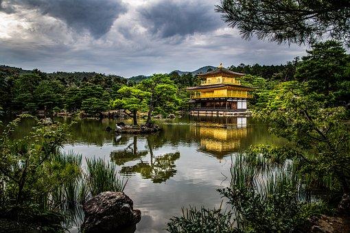 Shrine, Temple, Lake, Crane, Japan, Kyoto, Serene, Gold
