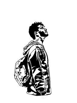 Man, Backpack, Traveler, Alone, Adventure, Drawing