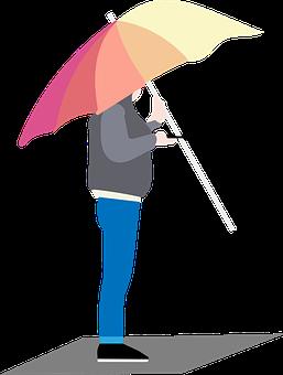 Umbrella, Rain, Mobile Phone, Cutout, Drawing