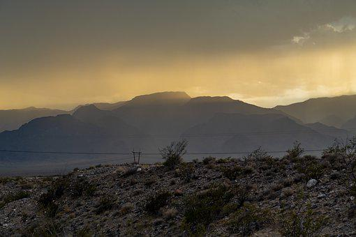 Desert, Mountains, Rain, Storm, Sunset, Landscape