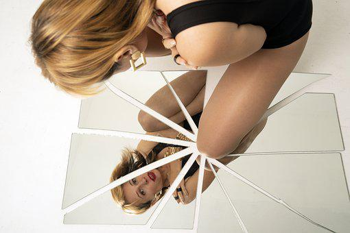 Woman, Beauty, Mirror, Reflection, Model, Pose, Female