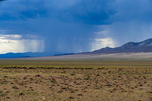 Desert, Rain, Storm, Mountains, Landscape, Nevada