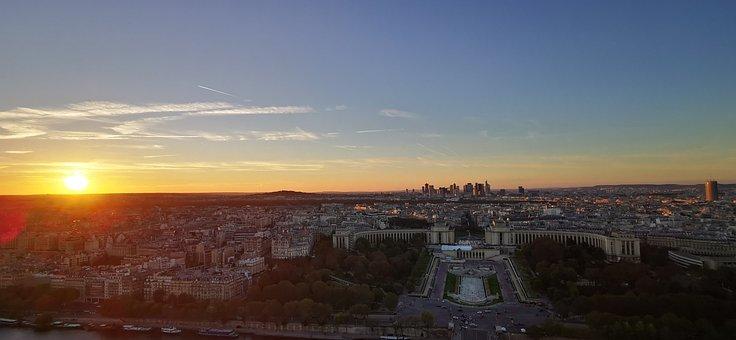 Paris, Sunset, Panorama, Trocadero, France, City