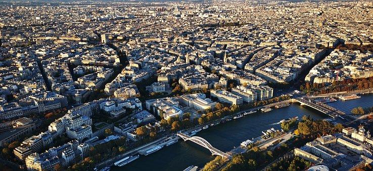 Paris, City, River, Panorama, France, Seine, Cityscape