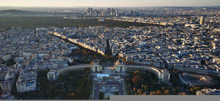 France, Paris, Trocadero, Panorama, City, Cityscape