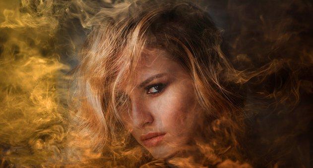 Woman, Beauty, Portrait, Girl, Face, Smoke, Eyes, Model