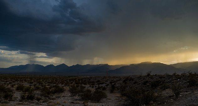 Desert, Rain, Storm, Mountains, Sunset, Landscape