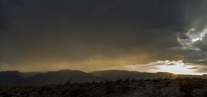 Sunset, Storm, Desert, Rain, Mountains, Landscape