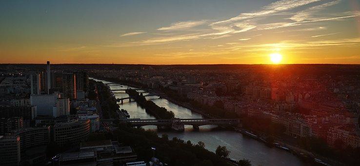 Paris, River, Sunset, Panorama, France, Seine, City