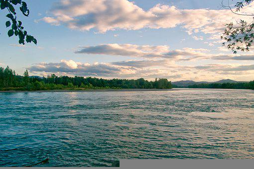 River, Altai, Sunset, Nature, Landscape, Mountains, Sky