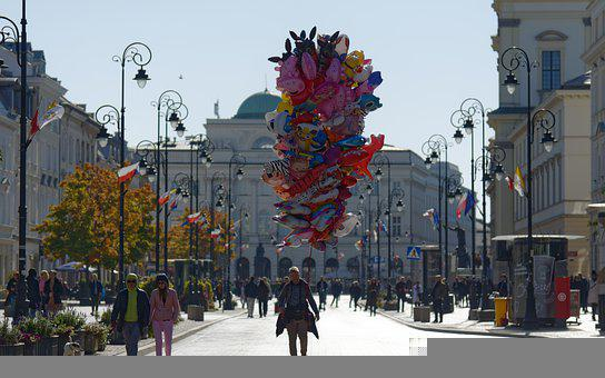 Balloons, Street, Ornaments, Buildings, Cityscape, City