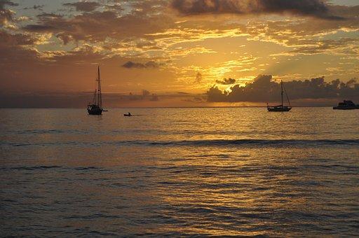Sunset, Sky, Sea, Seascape, Ocean, Boat, Dusk, Nature