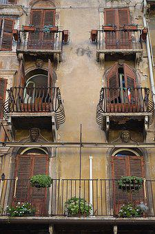 Balconies, Balcony, Italy, Verona, Typical Italian
