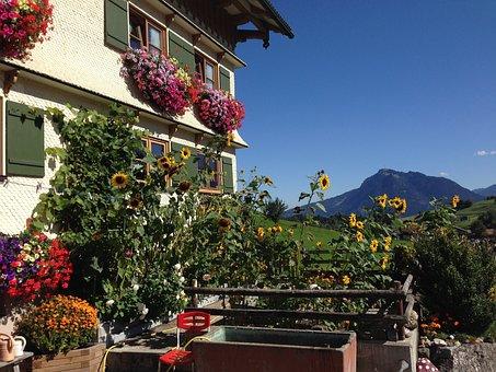 Allgäu, Bavaria, Farmhouse, Blue Sky, Mountains