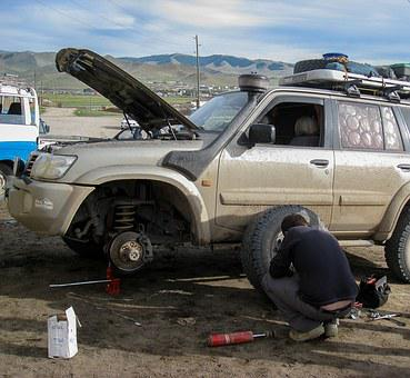 Mongolia, Breakdown, Garage, Wheels, Damper