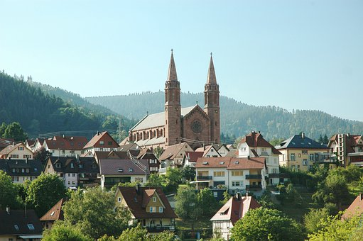 Forbach, Black Forest, City, Homes, Mountains, Sky