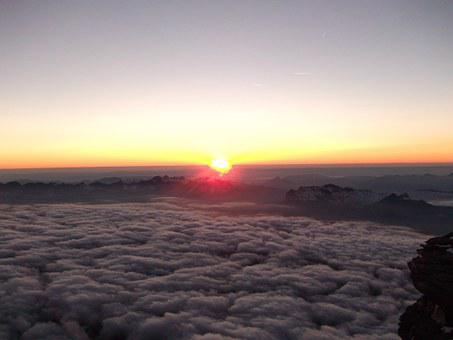 Sunset, Altitude, Clouds, Skyline, Mountain, Travel