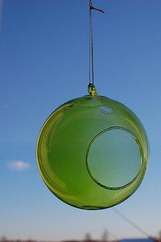 Sphere, Ornament, Glass, Ball, Hollow, Green, Design