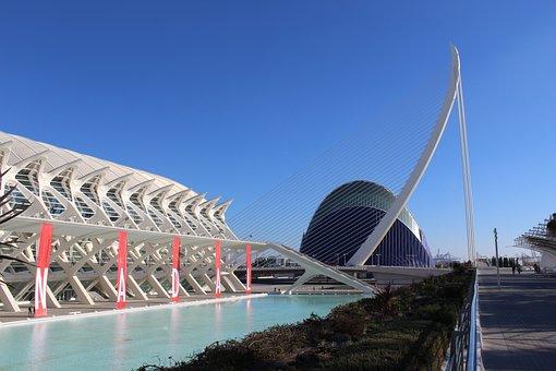 Valencia, Spain, Night, Reflex, Light, Travel, Europe