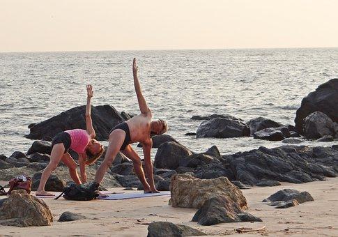 Yoga, Beach, Sea, Practice, Exercise, Lifestyle