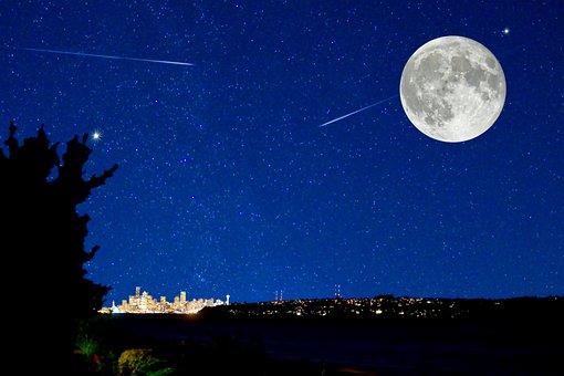 Night Scape, City Skyline, Magical, Full Moon