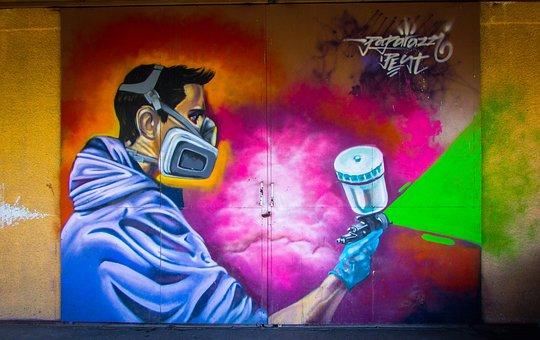 Graffiti, Colorful, Door, Metallic, Garage, Artist