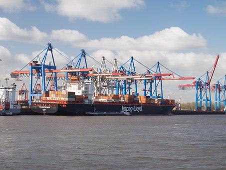 Hamburg, Port, Germany, Frachtschiff, Ship, Hapag Lloyd