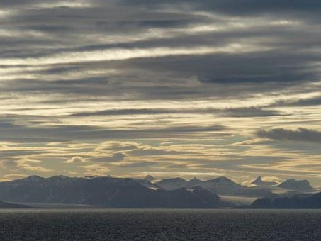 Spitsbergen, Sky, Sunset, Mountains, Sea, Lake, Clouds