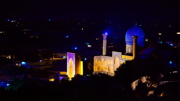 Night Lights, Ruhobod, Night, City, Central Asia