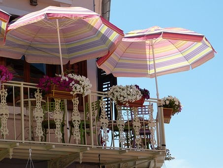 Balcony, Parasol, Summer, Flower Boxes, Home Front