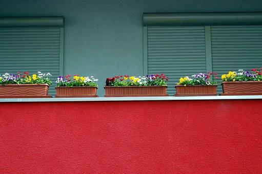 City, House, Balcony, Modern Building, Red, Flowers