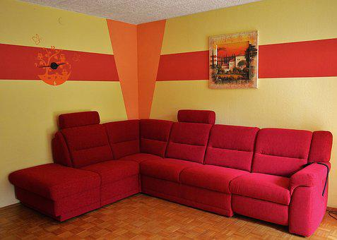 Couch, Sofa, Red, Living Room, Red Sofa